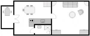 Ferienhaus, Erdgeschoss mit Terasse